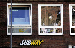 a subway on the wall