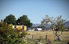 Derailed railroad cars