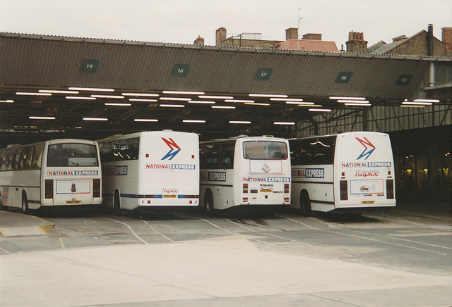 National Express coaches in Victoria Coach Station, London - 22 Apr 1993