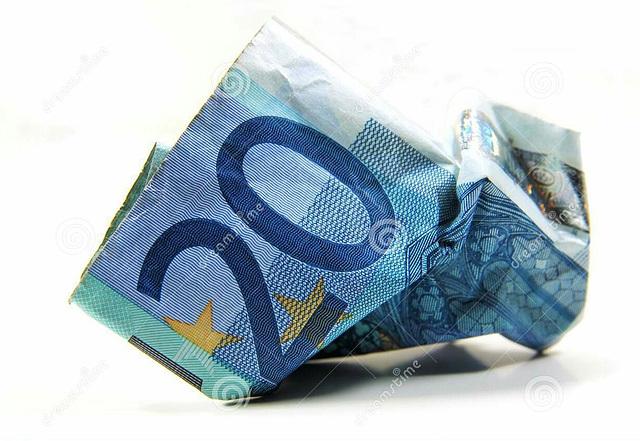 Billet froissé de 20 EURO