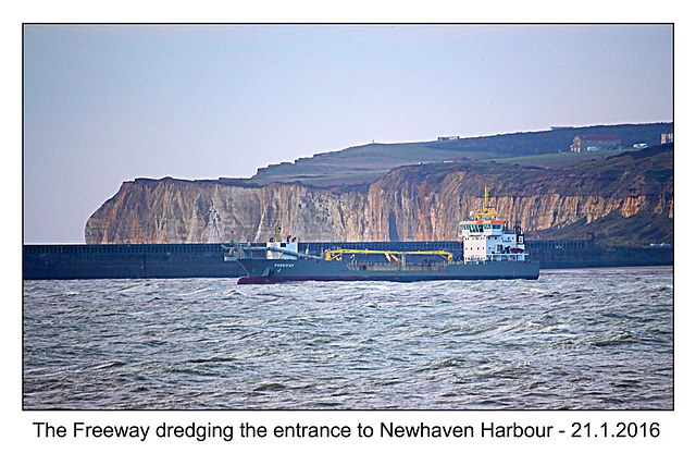 A few days after her first birthday Freeway is dredging the Newhaven Harbour entrance - 21.1.2016