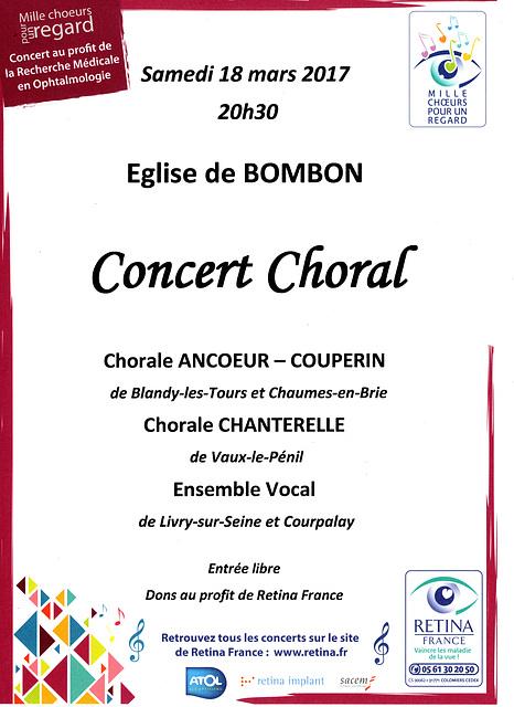"""""""Mille Choeurs pour un regard"""" à Bombon le 18 mars 2017"""