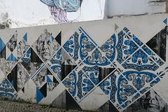Mur peint à la manière d'un azulejo, Lagos (Portugal)