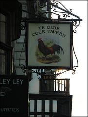 Ye Olde Cock Tavern sign