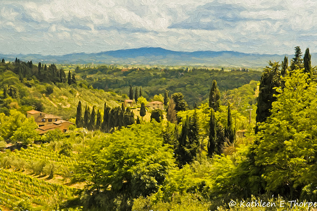 San Gimignano, Tuscany Landscape - Topaz Filter Painting Oil Painting