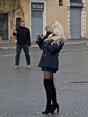 Roman street life - Woman photographer in Navona Square