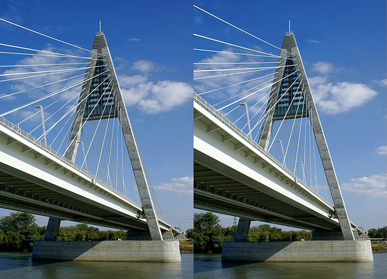 Seilbrücke über die Donau in X3D. ©UdoSm