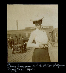 PMB062 GRACE CAMERON ON CPR STATION PLATFORM WPEG. MAN 1901