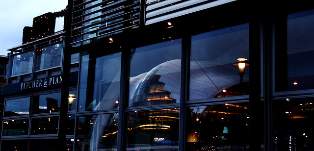 Quayside at Dusk. The Sage