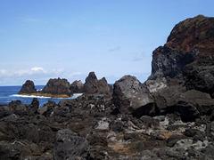 Sharp rocks along the coast.