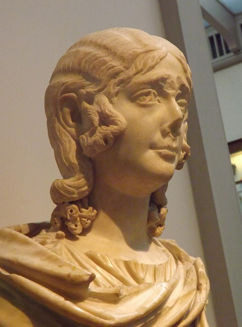 Detail of a Marble Portrait Bust of a Young Girl Wearing a Wig in the British Museum, May 2014