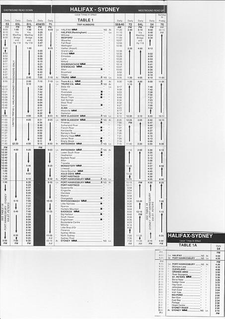 Acadian Lines Halfax-Sydney (Nova Scotia) timetable from 6 April 1992