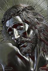 Tête de Christ en argent massif , plaque de 29 cm X 22 cm , épaisseur 1,5 cm . Origine Italie