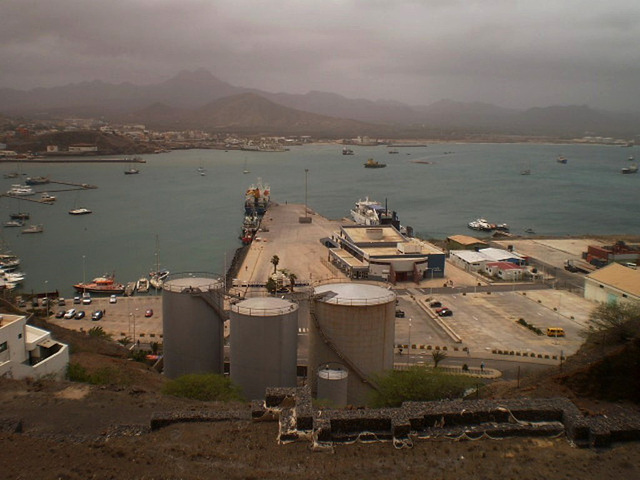 View to the ferries' terminal and Mindelo Bay.
