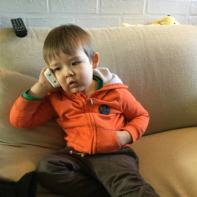 "Grandson on the ""phone"""