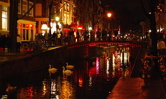Red Lights on a Dutch Canal.