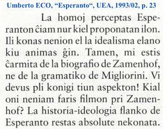 """Umberto ECO, """"Esperanto"""", UEA, 1993:02, p. 23"""