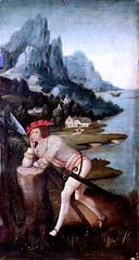 IMG 1114C X Anvers. début du 15è. Soldat endormi. Soldier asleep. Brou Musée du Monastère Royal Le tableau fut autrefois attribué à Joseph Patinir. The painting was formerly attributed to Joseph Patinir.