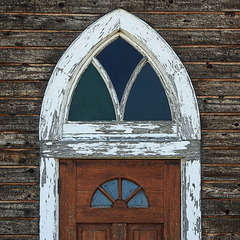 Front door of the little prairie church