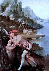 IMG 1114CB X Anvers. début du 15è. Soldat endormi. Soldier asleep. Brou Musée du Monastère Royal Le tableau fut autrefois attribué à Joseph Patinir. The painting was formerly attributed to Joseph Patinir.