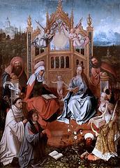 IMG 1115A Jean de Beer. 1475-1528 environ.  Anvers.  Sainte Famille avec Saint Bernard, Sainte Catherine  et un donateur.  Holy Family with Saint Bernard, Saint Catherine and a donor. vers 1505.   Brou. Musée du Monastère Royal