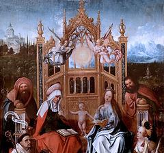 IMG 1115C Jean de Beer. 1475-1528 environ.  Anvers.  Sainte Famille avec Saint Bernard, Sainte Catherine  et un donateur.  Holy Family with Saint Bernard, Saint Catherine and a donor. vers 1505.   Brou. Musée du Monastère Royal