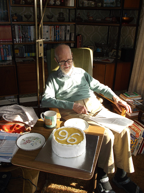 CAS at 96 with cake