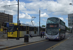 DSCF0486 Manchester Metrolink car set 3080 and First Manchester MX58 DWM in Rochdale -  4 Jul 2016