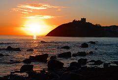 Criccieth castle at sunset
