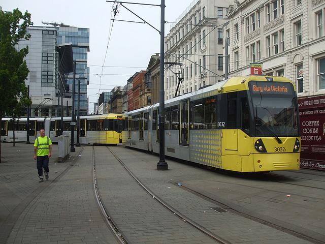 DSCF0653 Manchester Metrolink car sets 3032 and 3012 in central Manchester -  5 Jul 2016