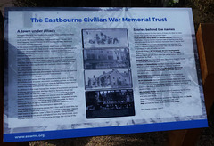 Civilian war memorial information panel - at the Wish Tower - Eastbourne - 15 4 2021