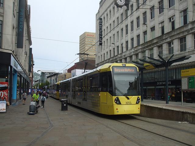 DSCF0654 Manchester Metrolink car sets 3012 and 3032 in central Manchester -  5 Jul 2016