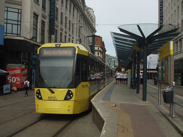 DSCF0655  Manchester Metrolink car sets 3012 and 3032 in central Manchester -  5 Jul 2016