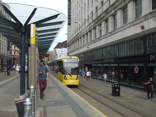 DSCF0658 Manchester Metrolink car sets 3055 and 3036 in central Manchester -  5 Jul 2016