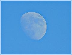 La lune , cet après-midi , à la plage de la Villeger (22)
