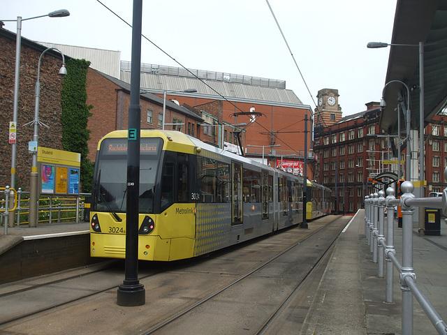 DSCF0662  Manchester Metrolink car set 3024 in Manchester -  5 Jul 2016