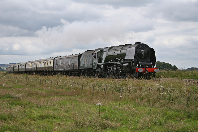 LMS class 8P Coronation 46233 DUCHES OF SUTHERLAND at Willerby Carr Crossing with 1Z23 Tyseley - Scarborough The Scarborough Flyer 1st JULY 2017