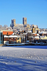 Lincoln cathedral  over a frozen Brayford pool