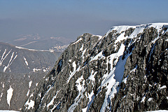 The summit cliffs above Coire Leis, Ben Nevis 1st May 1990