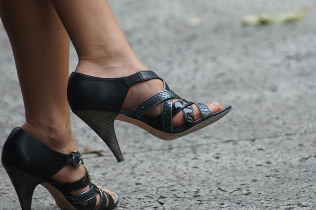 strappy spike heels