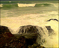 Greenbank Cove, North Cliffs, Cornwall, high tide