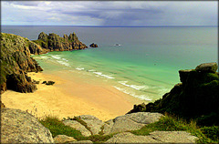 Porthcurno, Logan Rock, Pednvounder Beach.Trereen Dinas South.
