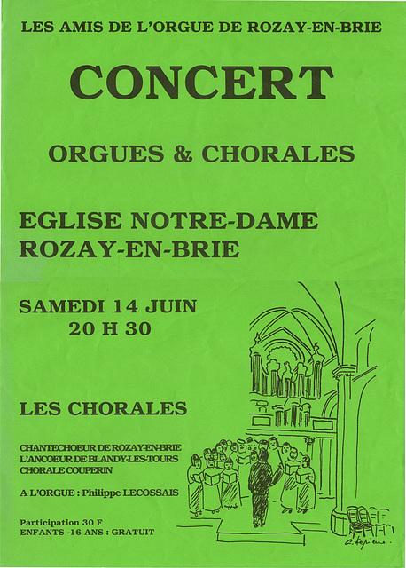 Orgue et chorales à Rozay-en-Brie le 14/06/1997