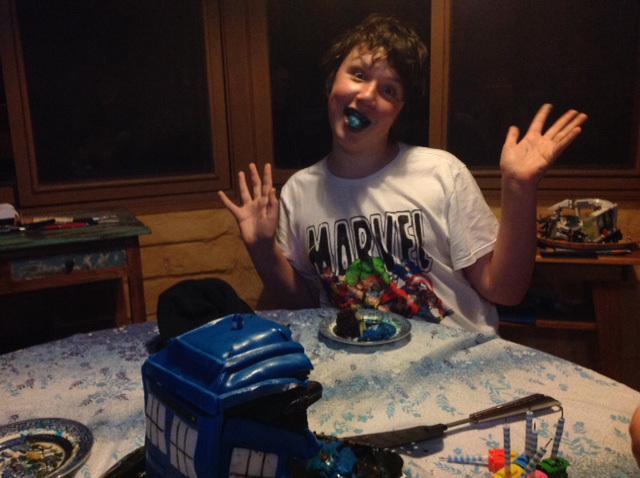 Teg with his Tardis cake