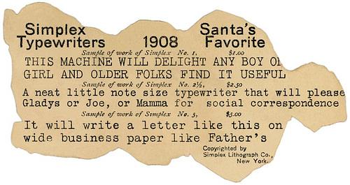 Santa's Favorite Simplex Typewriters, 1908 (Back)