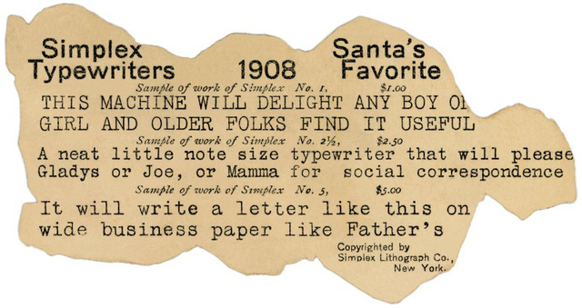 Simplex Typewriters, Santa's Favorite, 1908