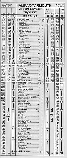 Acadian Lines Halifax-Yarmouth (Nova Scotia) timetable from 6 April 1992