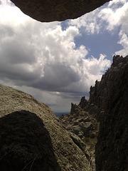 Rock window and jagged ridge