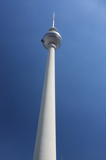 The TV tower against a pure blue sky