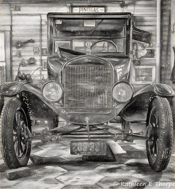 Heritage Village, 1925 Model T, Charcoal Sketch 032316
